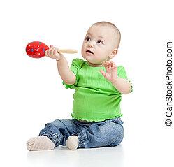 βρέφος αγόρι , με , μιούζικαλ , toys., απομονωμένος , αναμμένος αγαθός , φόντο