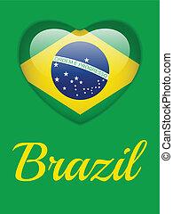 βραζιλία , 2014, καρδιά , με , η βραζιλιάνικη σημαία