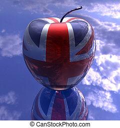βρετανία , σημαία , πλοκή , μήλο