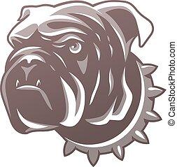 βρεταννίδα , σκύλος μπουλντώκ , κεφάλι , απομονωμένος , αναμμένος αγαθός , φόντο. , για , ο ενσαρκώμενος λόγος του θεού , ή , t-shirt., μικροβιοφορέας , illustration.