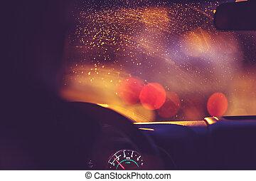βροχερός , δρόμοs , νύκτα