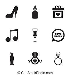 γάμοs , αρραβώνας , icons., δακτυλίδι , με , diamond.