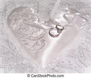 γάμοs , μαξιλάρι , και , δακτυλίδι