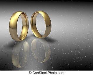 γάμοs , ουρανόs , δυο , φόντο , νύκτα , δακτυλίδι