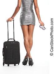 γάμπα , γυναίκα , μακριά , βαλίτσα
