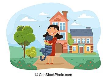 γάτα , αίσιος γυναίκα , αγαπώ , κατοικίδιο ζώο , αυτήν