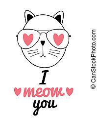 γάτα , αγάπη , χαριτωμένος , illustration., χέρι , μετοχή του draw , γενική ιδέα , εσείs