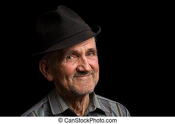 γέροντας , μαύρο καπέλο