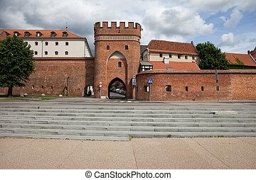 γέφυρα , άστυ εξωτερικός τοίχος οικοδομής , πολωνία , torun, πύλη
