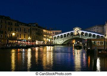 γέφυρα , βενετία , rialto , λυκόφως