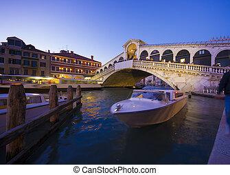 γέφυρα , βενετία , rialto , night., βλέπω