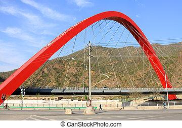 γέφυρα , κτίριο , τοπίο , κάτω από , ο , γαλάζιος ουρανός