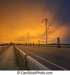 γέφυρα , μοντέρνος , putrajaya, τοπίο , ανατολή