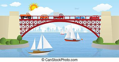 γέφυρα , πάνω , ο , ποτάμι