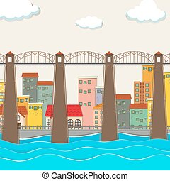 γέφυρα , πάνω , ο , ποτάμι , και , πόλη
