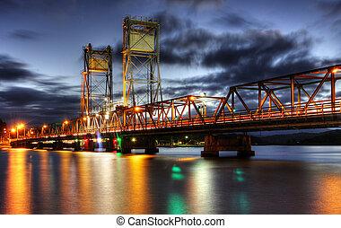 γέφυρα , σε , λυκόφως
