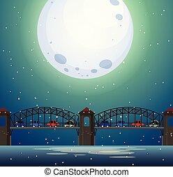 γέφυρα , τοπίο , νύκτα