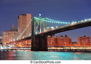 γέφυρα , brooklyn , πόλη , york , καινούργιος