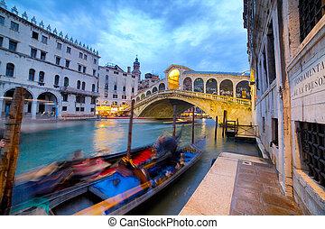 γέφυρα , rialto , ιταλία , νύκτα , βενετία
