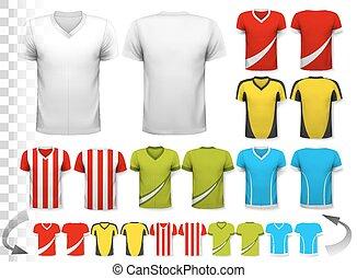 γίνομαι , μεταχειρισμένος , vector., συλλογή , διαφανής , φανελάκι , δικός , διάφορος , μπορώ , φόρμα , jerseys., ποδόσφαιρο , δικό σου , design.