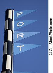 γαλάζιος ουρανός , εναντίον , σήμα , φόντο , λιμάνι