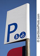 γαλάζιος ουρανός , εναντίον , σήμα , φόντο , πάρκινγκ