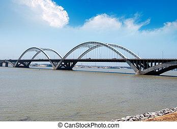 γαλάζιος ουρανός , κάτω από , ο , γέφυρα