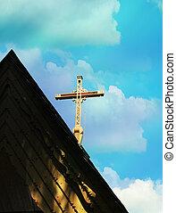 γαλάζιος ουρανός , ξύλινος , σταυρός