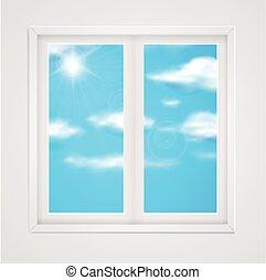 γαλάζιος ουρανός , παράθυρο