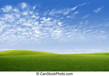 γαλάζιος ουρανός , πεδίο , αγίνωτος αγαθός , σύνεφο