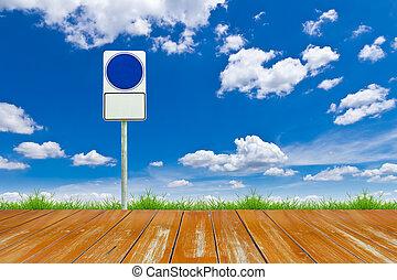 γαλάζιος ουρανός , σήμα , ξύλο , δρόμος , κενό