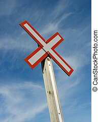 γαλάζιος ουρανός , σήμα , φόντο , διάβαση , σιδηρόδρομος
