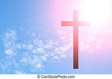 γαλάζιος ουρανός , σταυρός