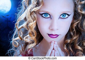 γαλάζιο άποψη , halloween., κορίτσι , πάγοs
