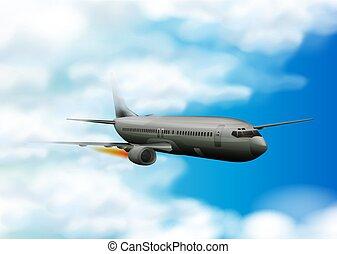 γαλάζιο αεροπλάνο , ιπτάμενος , ουρανόs
