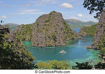 γαλάζιο απομονώνω , coron, kayangan, λίμνη , ή , λιμνοθάλασσα , φιλιππίνες