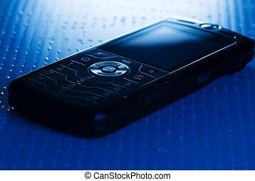 γαλάζιο απόχρωση , κεντρικός , dof, εικόνα , κινητός , button), (shallow, τηλέφωνο , ακριβής , στρογγυλός