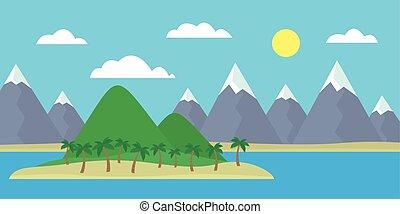γαλάζιο βουνήσιος , θαμπάδα , αδυνατίζω , βουνά , νησί , ανήφορος , ουρανόs , χιόνι , δέντρα , ημέρα , ορίζοντας , ευθεία , γκρί , πράσινο , θάλασσα , κάτω από , γελοιογραφία , βλέπω