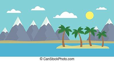 γαλάζιο βουνήσιος , θαμπάδα , αδυνατίζω , βουνά , νησί , ανήφορος , ουρανόs , χιόνι , δέντρα , ημέρα , ορίζοντας , ευθεία , γκρί , θάλασσα , κάτω από , γελοιογραφία , βλέπω