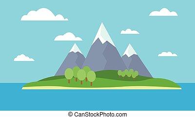 γαλάζιο βουνήσιος , μικροβιοφορέας , θαμπάδα , αδυνατίζω , βουνά , ουρανόs , ανήφορος , νησί , - , χιόνι , δέντρα , ημέρα , ορίζοντας , ευθεία , γκρί , πράσινο , θάλασσα , κάτω από , γελοιογραφία , βλέπω