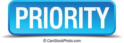 γαλάζιο γνήσιος , κουμπί , απομονωμένος , προτεραιότητα , ρεαλιστικός , 3d
