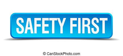 γαλάζιο γνήσιος , κουμπί , απομονωμένος , ρεαλιστικός , ασφάλεια , 3d , πρώτα