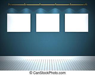 γαλάζιο εξωτερικός τοίχος οικοδομής , τρία , εικόνες