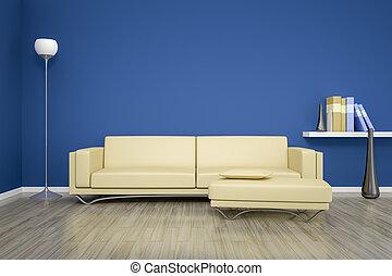 γαλάζιο καναπές , δωμάτιο