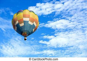 γαλάζιο μπαλόνι , ουρανόs , αέραs , ζεστός , φόντο