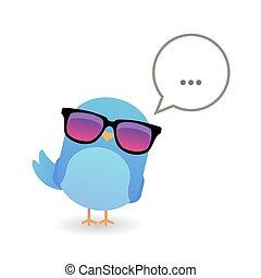γαλάζιο πουλί , με , γυαλλιά ηλίου