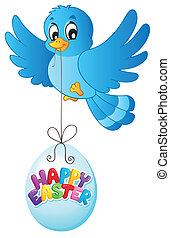 γαλάζιο πουλί , με , easter αβγό