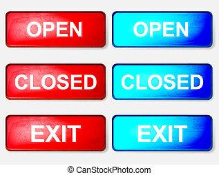γαλάζιο φόντο , σήμα , κλειστός , άσπρο , ανοίγω , κόκκινο