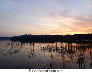 γαλήνιος , βράδυ , λίμνη