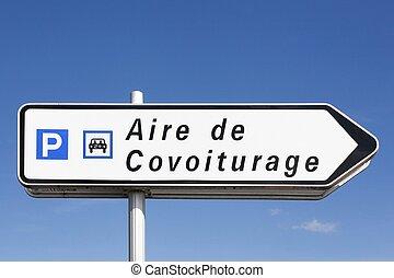 γαλλία , δρόμος αναχωρώ , σημείο , carpool , πάρκινγκ